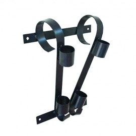 Double flag pole bracket, black
