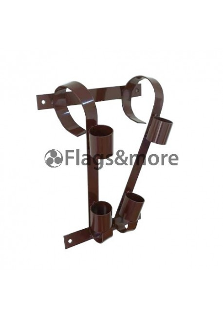 Double flag pole bracket, brown
