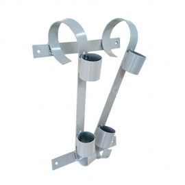 Double flag pole bracket, grey