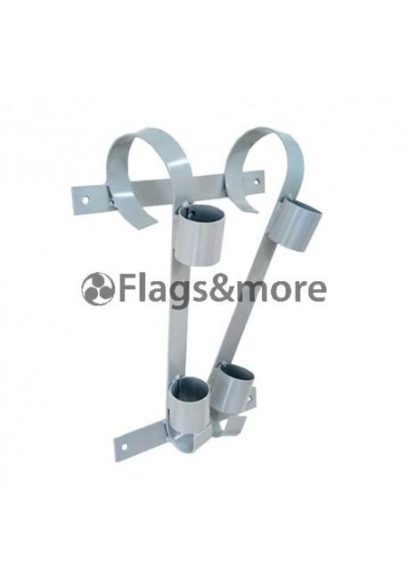 Double flag pole bracket, grey