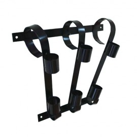 Triple flag pole bracket, black