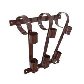 Triple flag pole bracket, brown