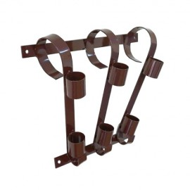 Triple flag pole bracket, brown