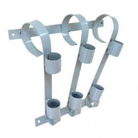 Triple flag pole bracket, grey