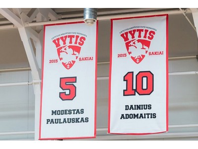 Custom vertical flags for basketball court