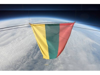 Lithunia nationa flag made by us in space